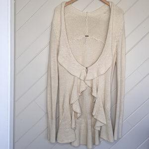 Free People Oversize Knit Cardigan Medium Cream